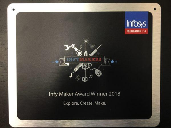 closeup photo of the InfyMaker Award 2018